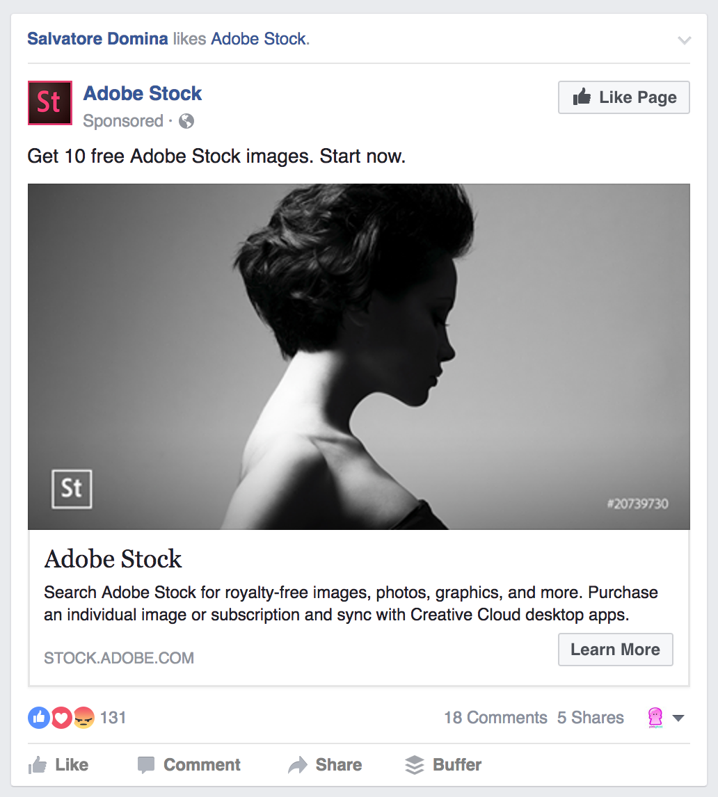 Facebook Ads Adobe Stock Like Page Example