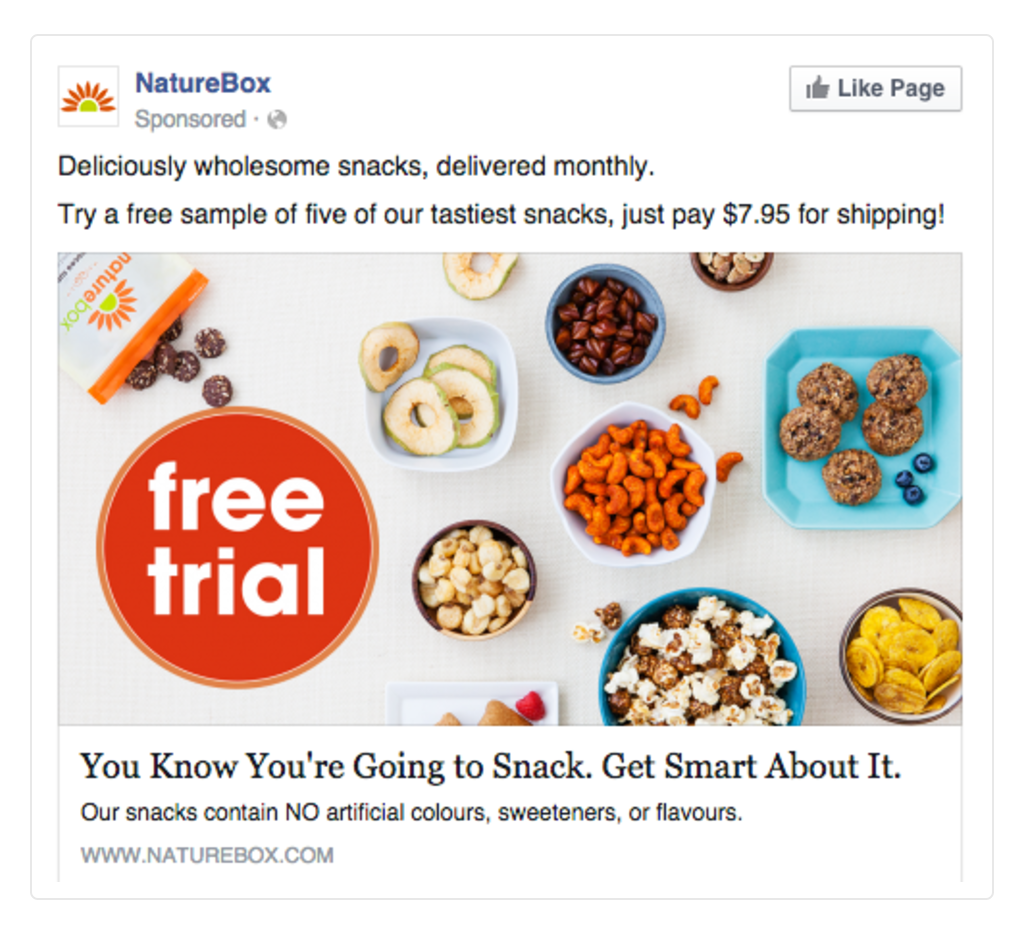 Facebook Ads Nature Box Show Value Like Page Example