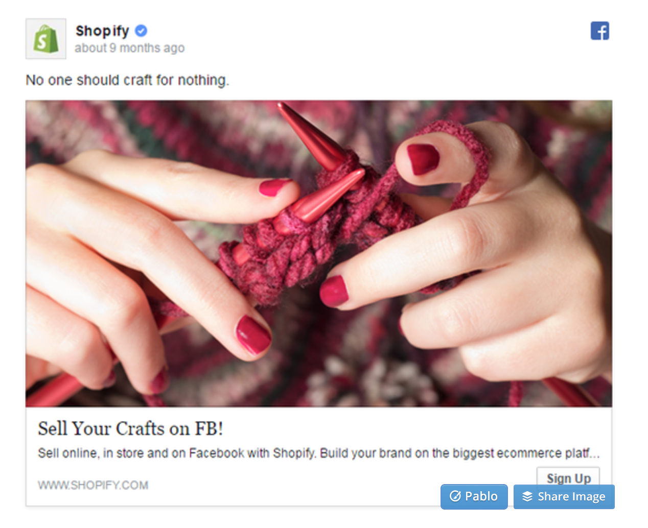 Facebook Ads Shopify Sign Up Example