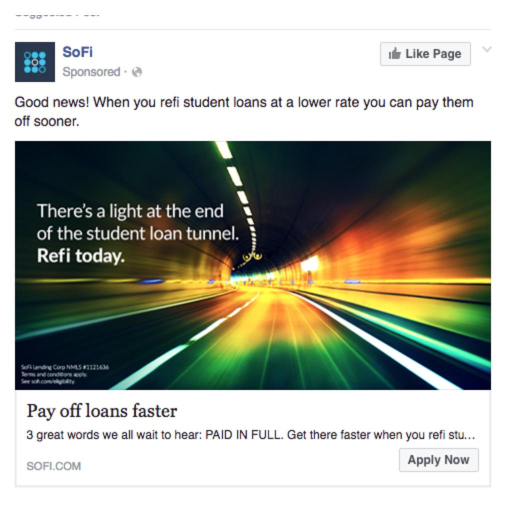 Facebook Ads Sofi Apply Now CTA Example