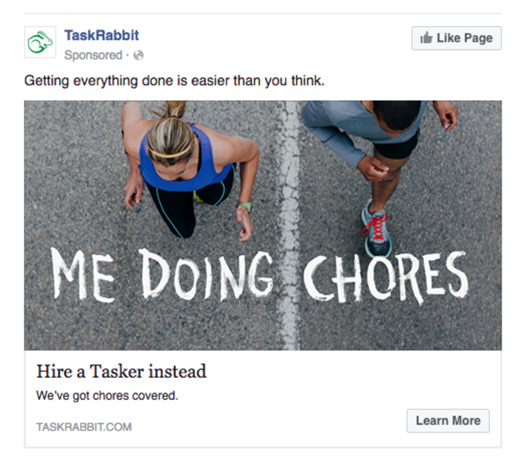 Facebook Ads Task Rabbit Engagement Show Benefits Example
