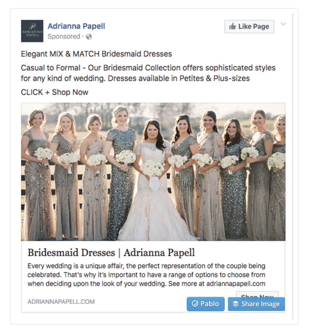 Facebook Page Ads Wedding Dress Engagement Example