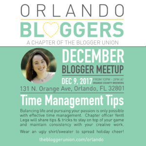 Orlando bloggers December meetup time management the blogger union